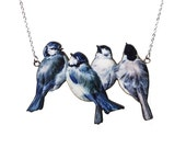 Bird necklace, vintage necklace, blue necklace, Blue Tits necklace, romantic necklace, handmade necklace, bird jewellery