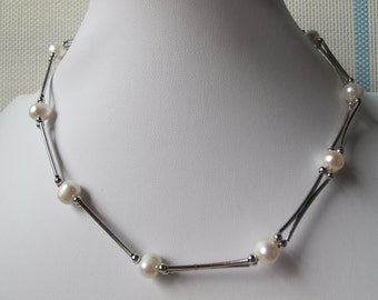 8-9mm White Potato Freshwater Pearl 925 Sterling Silver Necklace A192