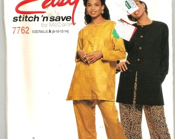 7762 McCalls Sewing Pattern Tunic Pants Hat UNCUT Size 8 10 12 14