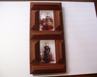 Handcarved  Wood Tramp Art Frame, Wood Picture Frame, Folk Art Frame, 4 X 6 Frame,  Rustic Wood Frame, Chip Carved Frame, Wood Photo Frame