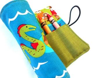Vikings and Sea Monsters Crayon Roll - Viking Kids Crayon Roll, 8 Crayons