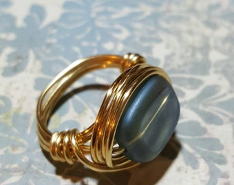 BLUE MOON -  Blue Wire Wrapped Ring.Blue Wire Ring, Wire Wrapped Rings, Gold  Wire Wrapped Ring, Wire Ring, Gold Wire Ring, BOHO RinG