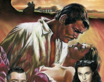 """Gone with the wind Collage, drawing, poster, print, reproduction, painting size 16""""x20"""",22.4""""x28"""""""