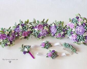Wedding Set Alternative wedding bouquet Keepsake Succulent Bridal bouquet Purple Lavender bouquet Peonies roses Wedding bouquet Clay flowers