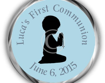 Boy Communion Stickers - Personalized First Communion Sticker - High Gloss Candy Favor Labels