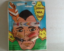 Vintage Halloween Indian War Paint Makeup Kit, Dunham Indian Costume, Unused, 1960's