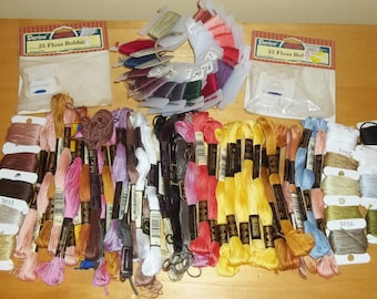 Embroidery - Cross Stitch SUPPLIES / 78 Skeins New & Full Bobbins + 50 New Floss Bobbins +1 Bobbin Ring DMC and Muline / 129 Pieces
