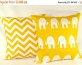Pillow Covers,Pillows, Yellow Pillows, Decorative Pillows, Baby, Nursery, Cushion, Yellow Elephants, Baby Boy, Baby Girl