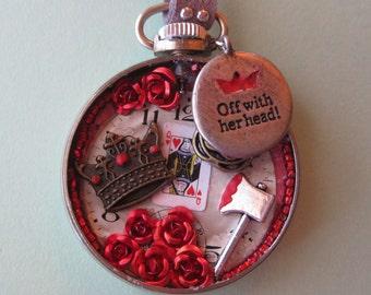 Off with Her Head Pin, Steampunk Disney Pocket Watch Pin, Goth Hatchet Pin, Alice Wonderland Pin