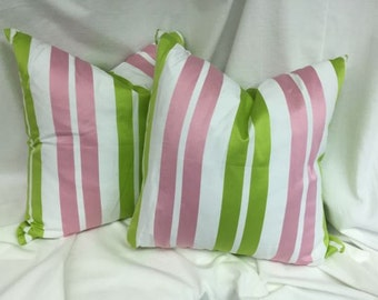 Designer Decorative Throw Pillow Pink Green Stripe