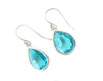 Turquoise glass earrings. Silver earrings. Blue teardrop earrings. Teal earrings. Blue zircon earrings. Wedding jewelry, bridesmaids gift