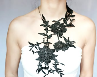 statement // large black lace bib necklace - floral lace bib accessory - Fabric art jewelry -  jewelry gift for her