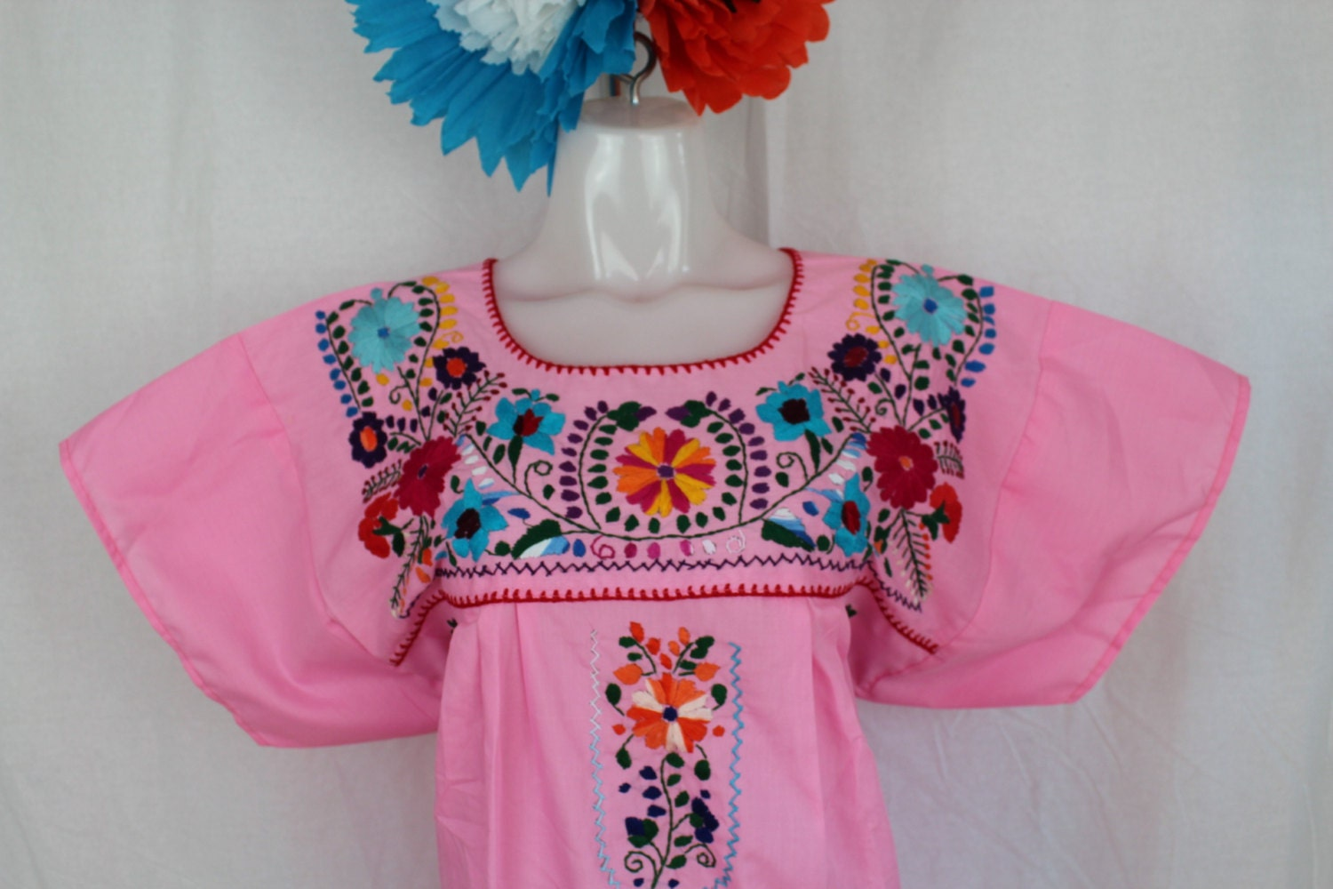 Mexican Embroidered Tunic Flowers Embroidered By Hand Pink