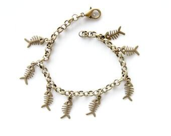 Fishbone charm bracelet