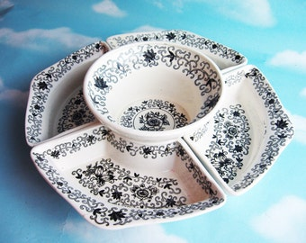 Lazy Susan, Black and White Dutch Garden, five piece chip and dip server, divided serving tray