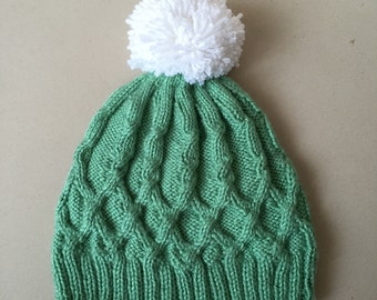Handknit Cable Hat - Green