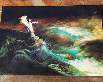 Vintage Original 70s Frank Frazetta The Sea Witch Mermaid WolfMother Poster