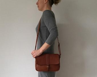 Cross body tan leather satchel, women's satchel, small brown satchel.