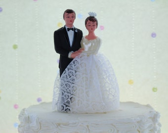 vintage retro bride groom cake topper traditional wedding couple from 1960s bride lace