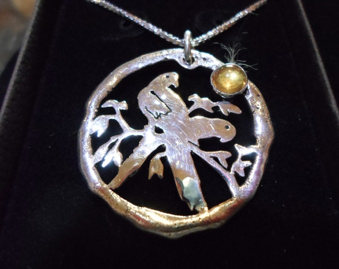 """large 34mm-32mm melted parrot necklace w/6mm citrine  w/20""""sterling silver box chain"""