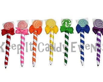 100 Custom Lollipop Pens, Lollipen, Edible Favors, Wedding, baby shower, birthday, party, favor, candy pen, edible pen, lollipop pen