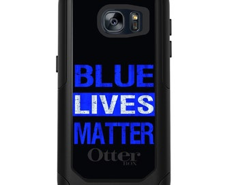 OtterBox Commuter for Galaxy S4 / S5 / S6 / S7 / S8 / S8+ / Note 4 5 8 - CUSTOM Monogram - Any Colors - Blue Lives Matter Law Enforcement