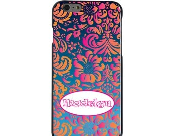 Hard Snap-On Case for Apple 5 5S SE 6 6S 7 Plus - CUSTOM Monogram - Any Colors - Pink Orange Damask Oval