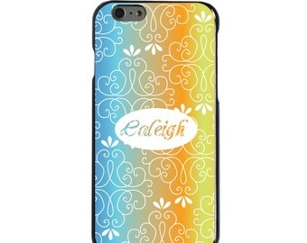 Hard Snap-On Case for Apple 5 5S SE 6 6S 7 Plus - CUSTOM Monogram - Any Colors - Blue Orange Yellow Floral Name
