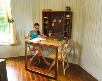 Fold Down Desk- folding desk for apartments, tiny home, college students, or bedroom built from reclaimed barn wood, barn wood furniture