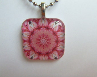 Glass tile pendant necklace pink black white kaleidoscope with silver plated ball chain