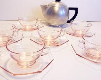 Pink Depression Glass Cambridge Tea Set - Vintage Set 6  Cup and Saucers - Antique Pink Glass Cups Octagon Matching Saucers
