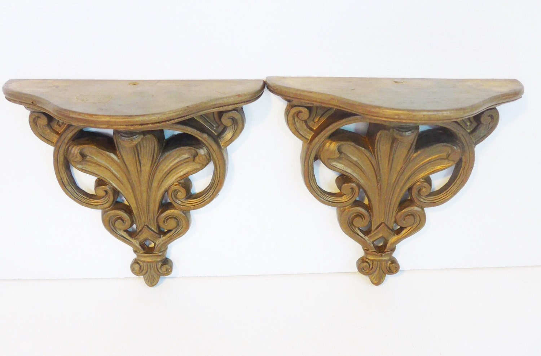 Pair vintage burnished gold ornate wood shelves 2 gold mid vintage antique shop amipublicfo Gallery