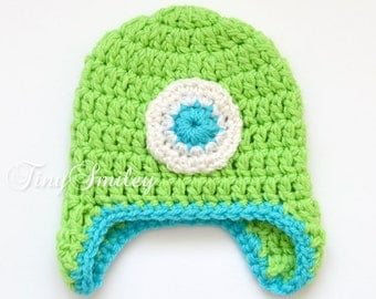 Monster Baby Hat, Green Monster Hat, Baby Boy Monster Hat, Crochet Monster Hat, Green Monster Hat, Monster Beanie, Infant Hats, Baby Hats