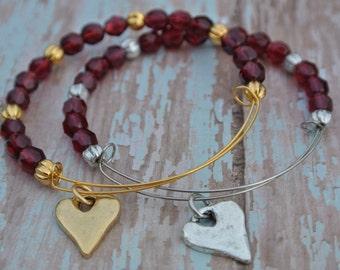Valentine Bracelet!   Garnetl red adjustable bracelet with hammered heart.  Available in gold or silver.