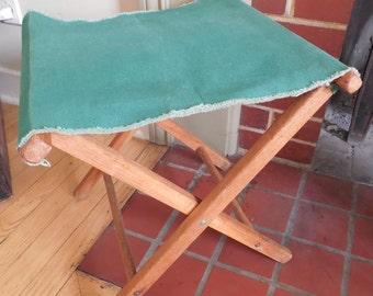 Vintage Green Canvas Folding Camp Stool