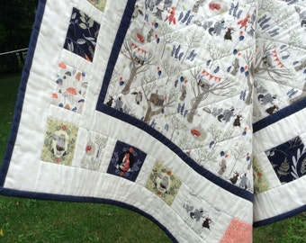 FOXTAIL FOREST Patchwork Baby Quilt Navy Gray Coral Stone--Ready to Ship