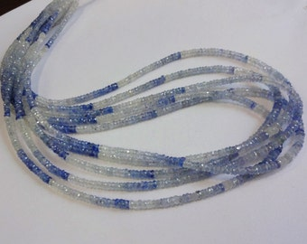 Rare to get Natural Blue Sapphire shaded from Srilanka faceted rondelle beads size 3-3.5mm sold per 18-inch strand GW511