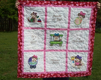 Sock Monkey, Embroidered Girls Baby Quilt