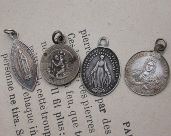 lot 4pcs French antique 19th century religious medal stamped sterling silver our lady lourdes gothic notre dame virgin mary