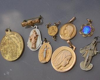 8pcs French antique 18K gold vermeil religious medals pendant blue enamel reliquary  Jesus Mary Sacred heart