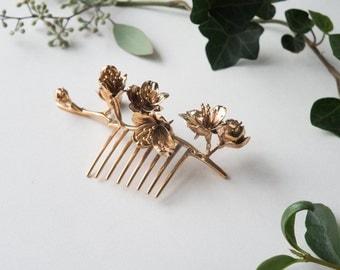 Cherry Blossom Hair Comb- 3D Printed Botanical Hair Accessory