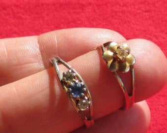 Lot Of Vintage Clear & Sapphire Colored Rhinestone Adjustable Rings