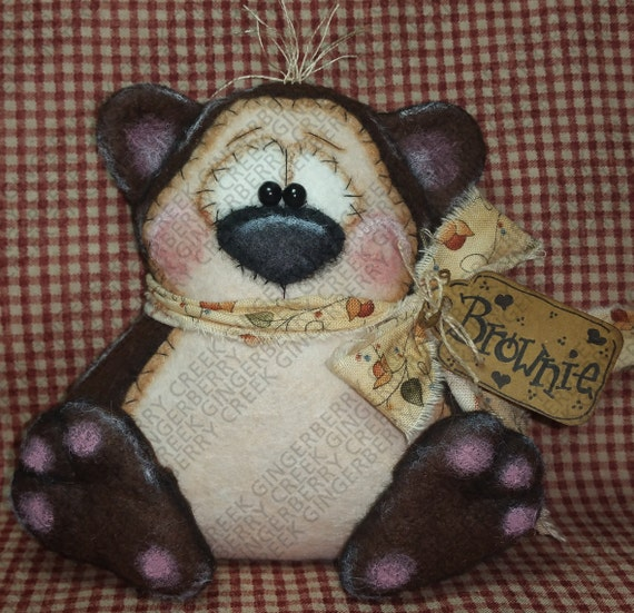 E-Pattern - Brownie the Bear Pattern #206 - Primitive Doll ...
