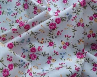 Delicate Rose - Pink on white - 100% Cotton Poplin