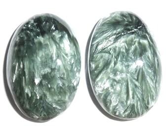 2pcs Seraphinite Cabochons Cabs Russia Siberia Angel Stone 2.5x1.7x0.7cm 9g
