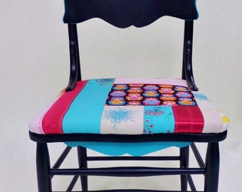 vintage wood dining chair with paisley and nesting doll design antique refurbished boho seat black magenta aqua blue - Vintage Wooden Dining Chairs