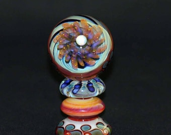 Flameworked Glass Sea Vortex Marble with Matching Stand and Opal Sphere