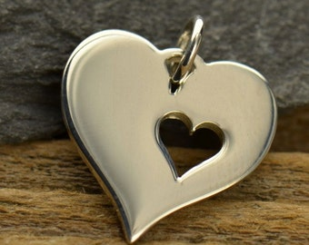 Sterling Silver Large Heart with Cutout Heart