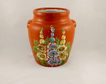 Vintage Ransburg of Indiana Pottery Hand Painted Cookie Jar/Planter
