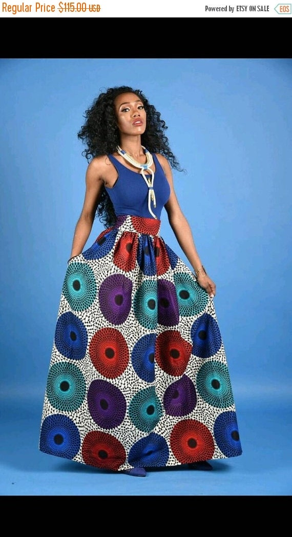 SUMMER SALE NEW Vera circle African Print Maxi skirt